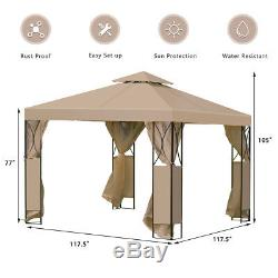10'X10' Gazebo Canopy 2 Tier Tent Shelter Awning Steel withNet Brown Outdoor