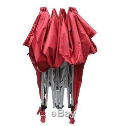 10'X10' Outdoor Canopy Party Tent Wedding Shelter Patio Gazebo Red with4 Side Wall