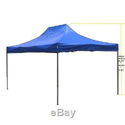 10'X15' Outdoor Easy Pop up Tent Shelter Canopy Gazebo Pavilion Heavy Duty Blue