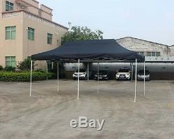 10'X20' Outdoor Pop up Canopy Gazebo Pavilion Tent Shelter White Frame Black