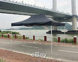 10' X 15' Outdoor Pop up Canopy Gazebo Pavilion Tent Shelter White Frame Black