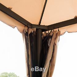 10'x10' Outdoor Garden Gazebo Patio Canopy Sun Shelter Aluminum 2-Tier Mesh