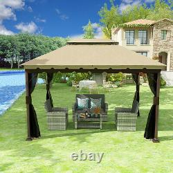 10'x13' Outdoor 2-Tier Gazebo Canopy Cover Patio Steel BBQ Party Tent Shelter