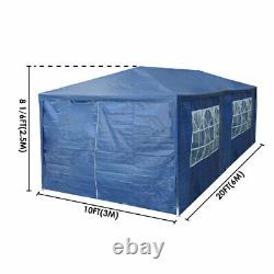10'x20' Gazebo Canopy Outdoor Patio Party Wedding Tent with 6 Removable Sidewall