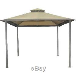 10 x 10 Ft Mainstays Outdoor Gazebo Beige Savvi Patio Garden Canopy Steel Frame