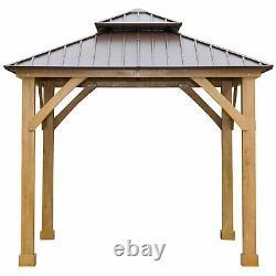 10' x 10' Hardtop Gazebo Patio Canopy Shelter Outdoor Double Tier Roof Pergola