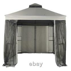 10 x 10 Outdoor Gray Canopy Garden Gazebo Steel Frame Black Mosquito Netting