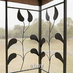 10 x 10 ft Outdoor Patio Gazebo Canopy Roof Steel Frame with Mesh Sidewalls Brown