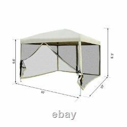 10 x 10 ft Pop Up Gazebo Outdoor Garden Screen Room Canopy Tent with Mesh Walls