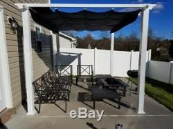 10' x 12' Backyard White Pergola Outdoor Steel Patio Gazebo Tent Blue Canopy NEW