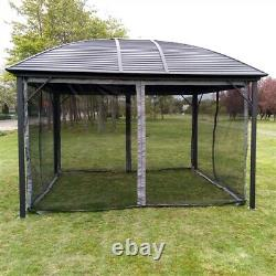 10' x 12' Deluxe Gazebo Patio Canopy Hard Top Outdoor Event With Mesh Netting