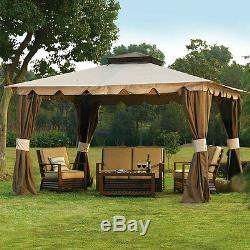 10 x 12 Hampton Gazebo Outdoor Patio Canopy Mosquito Netting & Privacy Panels