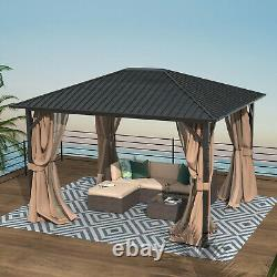 10' x 12' Hardtop Gazebo Outdoor Metal Canopy Gazebo with Netting and Curtains