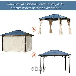 10' x 12' Outdoor Hardtop Patio Canopy Gazebo Party Tent with Removable Curtains