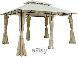 10' x 13' Outdoor Soft Top Gazebo with Curtains, 2-Tier Steel Frame for Patio