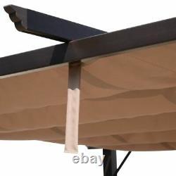 10' x 13' Steel Outdoor Pergola Gazebo Backyard with Retractable Canopy Cover