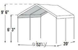 10' x 20' White Heavy Duty 6 Leg Gazebo Canopy Patio Tent Outdoor Camping Shade