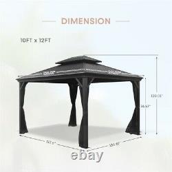 10ft x 12ft Hardtop Gazebo Outdoor Patio Gazebo Canopy Black Metal Roof