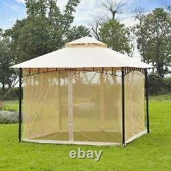 10x10FT Double-tier Patio Gazebo Canopy Shelter Outdoor Sun Shade Mosquito Net