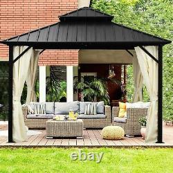 10x10/12ft 2Tier Steel Gazebo and Mosquito Net&Outdoor Galvanized Steel Roof