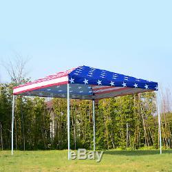 10x10 EZ Pop Up Party Wedding Tent Patio Gazebo Canopy Outdoor Mesh US Flag Bag