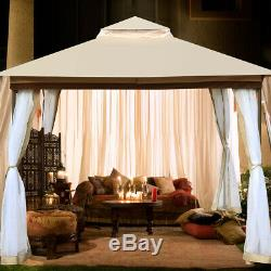 10x10 Gazebo Tent Outdoor Party Wedding Canopy Garden Shelter Sunshade with Net