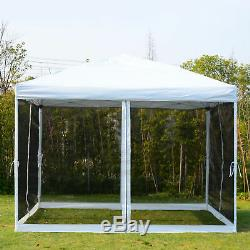 10x10 Outdoor EZ Pop Up Wedding Party Tent Patio Gazebo Canopy Mesh Silver withBag