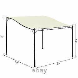 10x10 ft Metal Patio Pergolas Outdoor Gazebo Canopy White Shade Cover Clearance