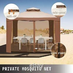 10x10ft Patio Gazebo Outdoor Canopy with Netting and Sandbags for Backyard