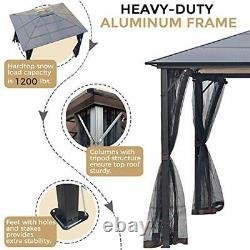 10x12 Outdoor Hardtop Gazebo for Patios Metal Aluminum Frame Polycarbonate Top