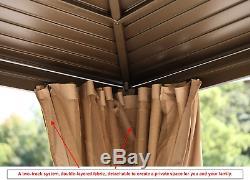 10x13ft Outdoor Galvanized Steel Hardtop Gazebo Canopy Aluminum with Netting
