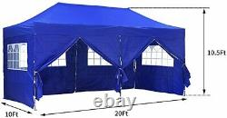 10x20Ft Outdoor Canopy Tent Pop up Wedding Gazebo Tent Party Removable Sidewalls