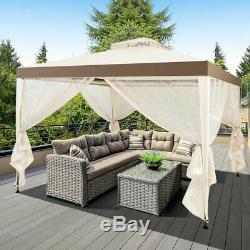 10x 10 Canopy Gazebo Tent Shelter withMosquito Netting Outdoor Lawn Patio Beige