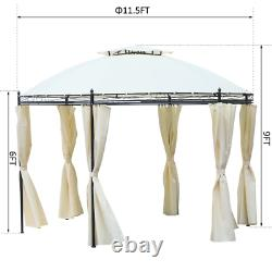 11.5 ft. Steel Fabric Round Soft Top Outdoor Patio Dome Gazebo Shelter with Full