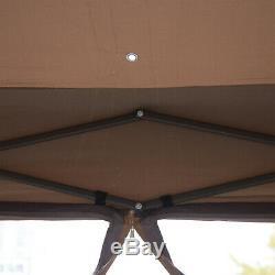 12 Steel Fabric Hexagonal Pop Up Outdoor Gazebo with Screened Sidewall