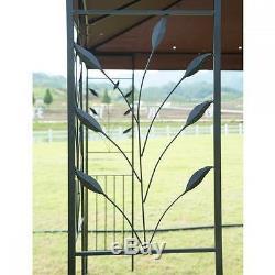 12'X 10' Outdoor Gazebo Steel frame Vented Gazebo with Netting Brown N34