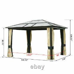 12'x10' Gazebo Canopy Net Hardtop Roof Steel Outdoor Patio Tent With Mesh Walls