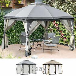12' x 10' 2-Tier Outside Pergola Canopy with Steel Frame and Arched Roof Beige