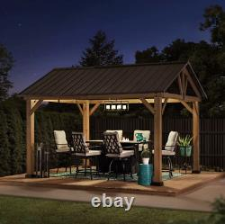12' x 10' Cedar Outdoor Pavilion with Steel Roof