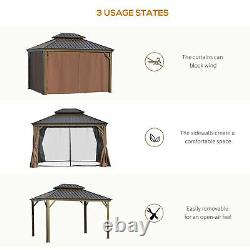 12' x 10' Outdoor Hardtop Gazebo with Steel Canopy and Netting Sidewalls