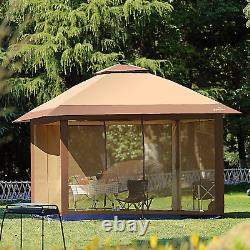 12' x 12' Outdoor Gazebo Canopy with Mosquito Netting and Solar LED