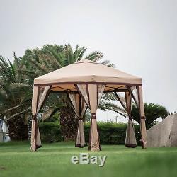 12x8 Outdoor Patio Iron Gazebo Canopy Garden Backyard Tent with Mesh Side Wall