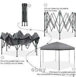 12x 10ft Pop Up Gazebo Canopy Tent 6 Sided Sun Shade for Patio Outdoor