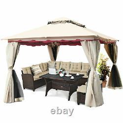 13'x10' Outdoor Canopy Gazebo Art Steel Frame Party Patio Canopy Gazebo Netting