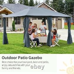 13' x 10' Steel Outdoor Patio Gazebo Pavilion Canopy Tent with Curtains Grey