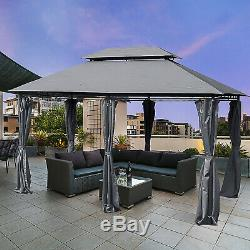 13x10 Outdoor 2-Tier Steel Gazebo with Modern UV-Fighting Curtain Grey