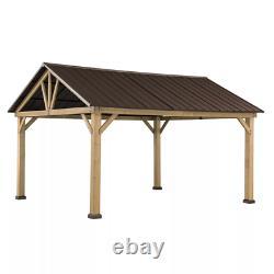 14' x 12' Cedar Outdoor Pavilion with Steel Roof