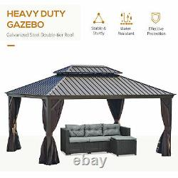 16' x 12' Backyard Garden Outdoor Canopy with Netting Sidewalls & Curtains Brown