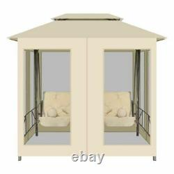 2 Person Bower Swing Patio gazebo Sofa Chair Bed With Ceiling 4 Pillow Outdoor