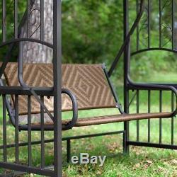 2 Person Gazebo Swing Chair Seat Outdoor Garden Sun Shade Natural Resin Wicker